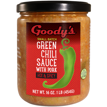 Goody Small Batch Green Chili Sauce with pork 16 Oz