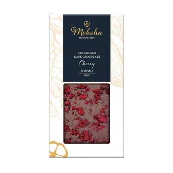 Moksha Dark Chocolate Cherry Bar 72% Cacao  LOCAL