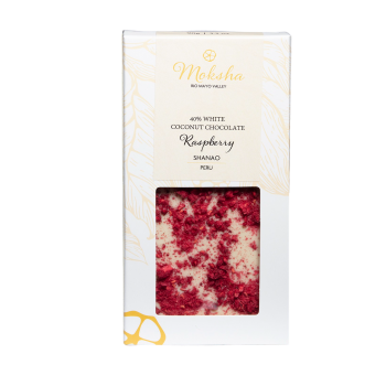 Moksha White Coconut Chocolate Raspberry Bar 40% Cacao - 5280Gourmet.com