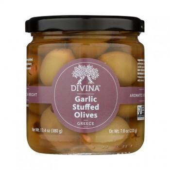 Green Stuffed olives with Garlic  6.7 Oz