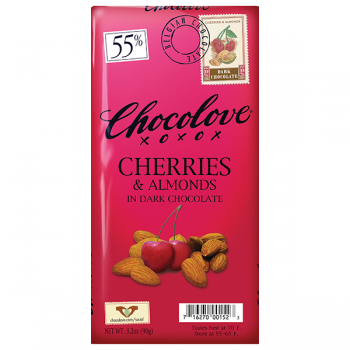 Chocolove Cherries & Almonds in Dark Chocolate Bar 55% Cocoa Content