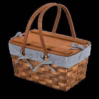 Kansas Handwoven Wood Picnic Basket  Navy Blue & White Stripe