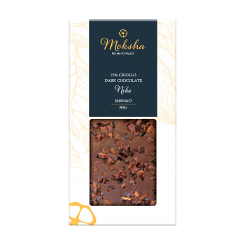 Moksha Dark Chocolate Nibs Bar 72% Cacao