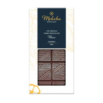 Moksha Dark Chocolate Plain Bar 72% Cacao  LOCAL